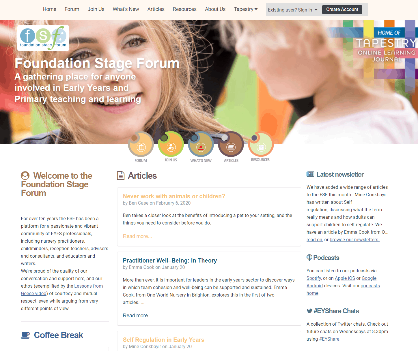 The Foundation Stage Forum homepage